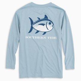 Southern Tide Youth LS Skipjack Grt White Perf Tee Tsunami Grey