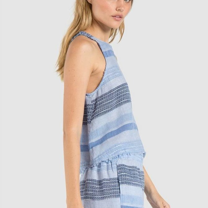 Bella Dahl Fray Hem Swing Tank- Shades of Blue