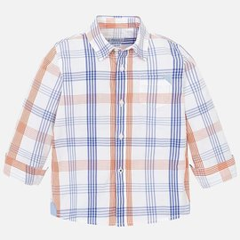 Mayoral Boys Long Sleeve Checked Shirt- Passion Fruit