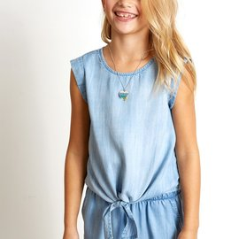 Bella Dahl Tie Front Top- Faded Tide Denim