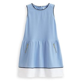 Bella Bliss Pique Jersey Colorblock Dress- Blue w/ White/Navy