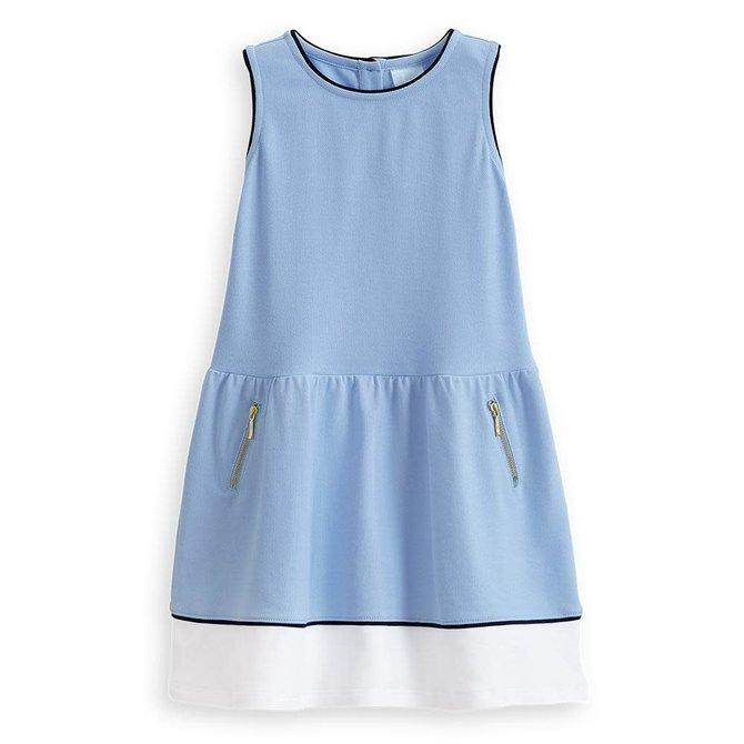 Bella Bliss Pique Jersey Colorblock Dress- Blue w/ White/Navy