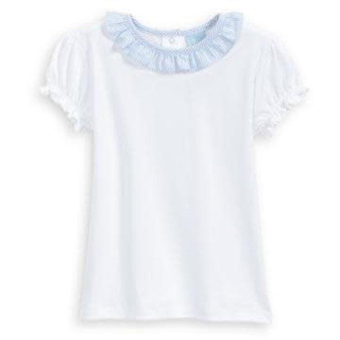 Bella Bliss Spring Pima Missy Blouse- White w/ Blue stripe