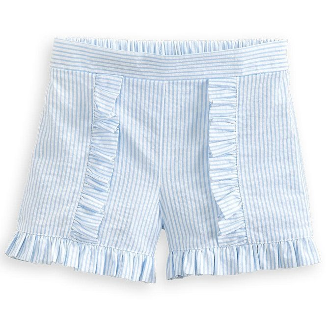 Bella Bliss Hildy Short- Blue Seersucker Stripe