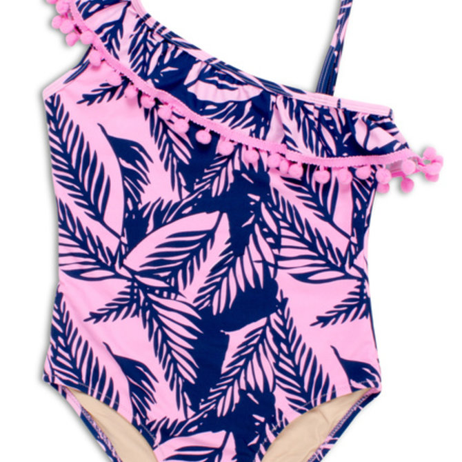 Shade Critters Shade Critters Palm Reader One Shoulder One Piece Navy/Pink