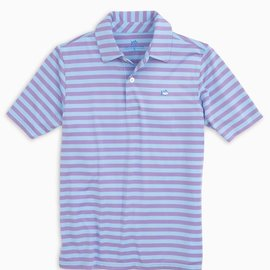 Southern Tide Youth SS Sonar Stripe Performance Polo Sky Blue