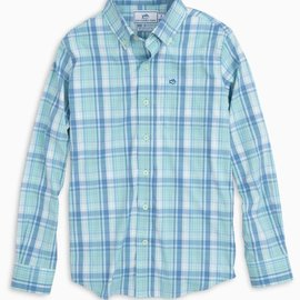 Southern Tide Youth LS Beach Lagoon Plaid IC Sportshirt Turquoise