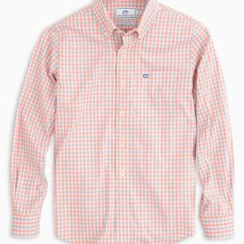Southern Tide Youth Seaward Plaid IC Sportshirt Shell Pink