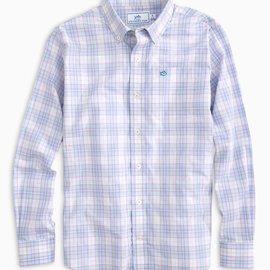 Southern Tide Youth LS Freeboard Plaid Sportshirt Sky Blue