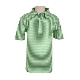 Eland Kids Short Sleeve Polo Green/White Stripe