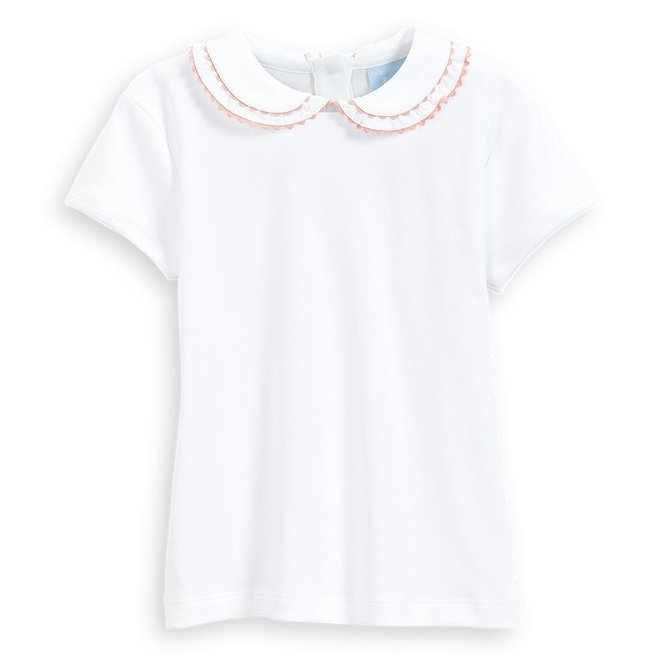 Bella Bliss Short Sleeve Pima Vanessa Blouse - White w/ Pink