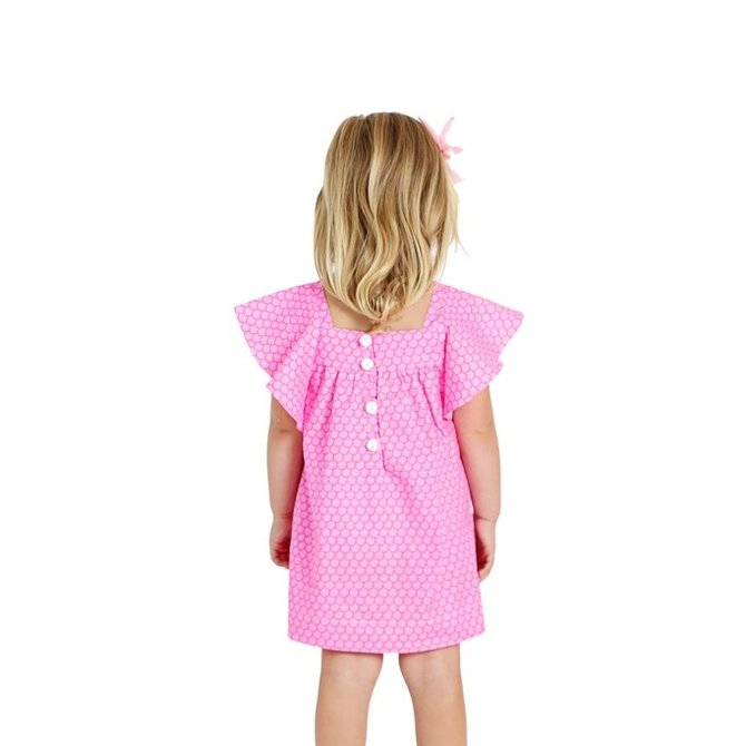Smiling Button Mermaid Tail Flutter Dress