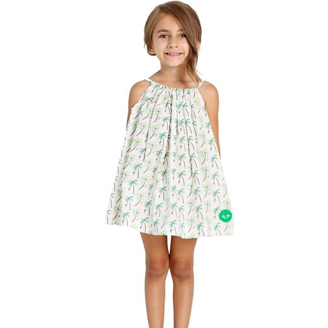 Smiling Button Palm Tree Swing Dress