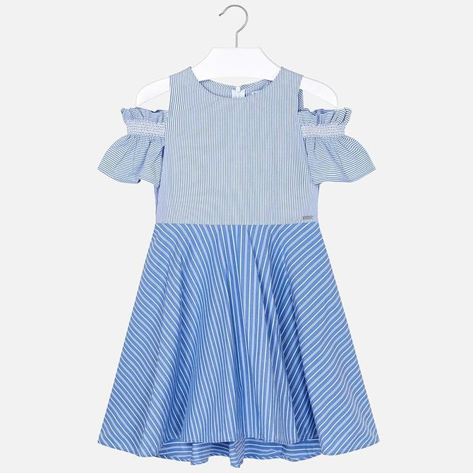 Mayoral Girls Cold Shoulder Dress Blue/White Stripe