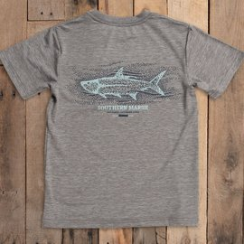 Southern Marsh Youth FIELDTEC Heathered Performance Tee Dark Gray