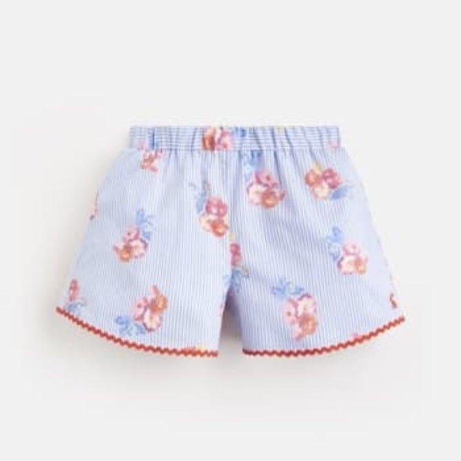 Joules Carmel Short Blue Floral Stripe