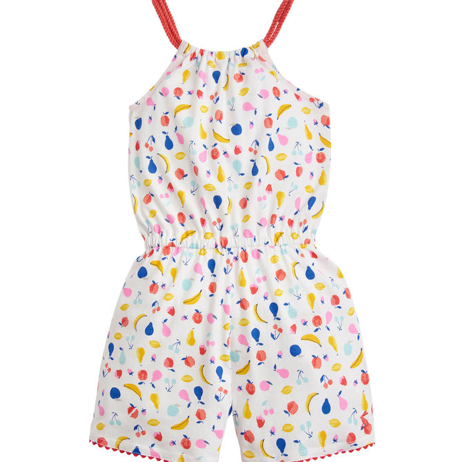 Joules Jersey Printed Playsuit White Fruit