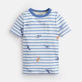 Joules Blue Dino Stripe Shirt