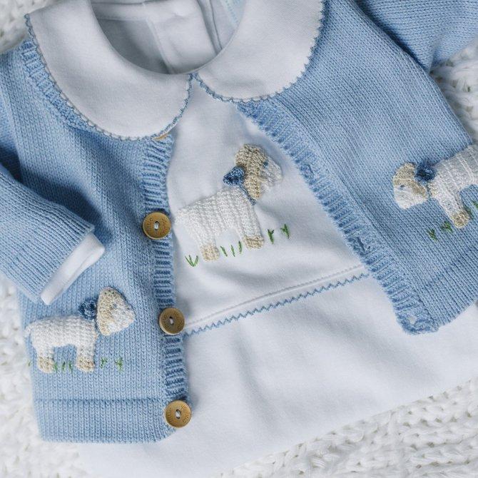 Little English Boys Sheep Crochet Playsuit