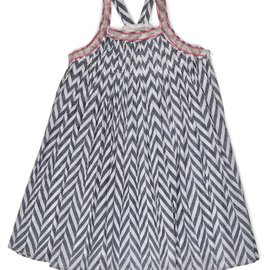Ujala Pleated Dress w Embriodered Straps Grey Chevron