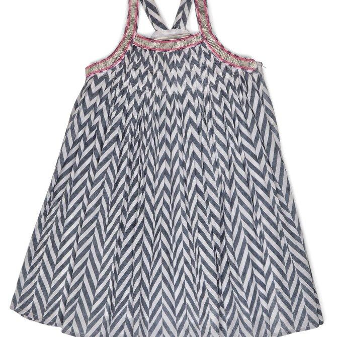 Ujala Pleated Dress w Embriodered Straps Grey Chevron