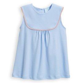 Bella Bliss Pearl Pima Pom Pom Blouse Blue w/ Pink