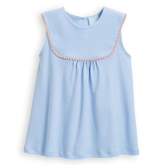 533090b2f2c160 Bella Bliss Pearl Pima Pom Pom Blouse Blue w/ Pink - Covey House ...