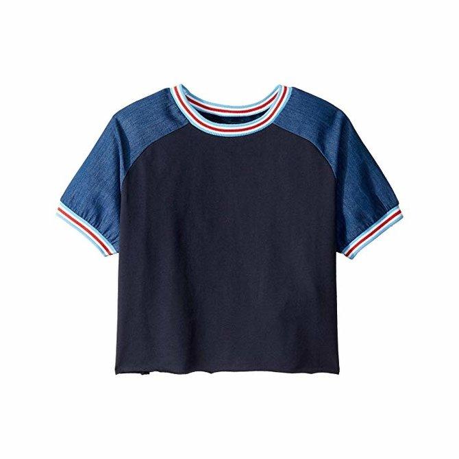 Joes Jeans Kids Raglan Chambray Sleeve Top Navy