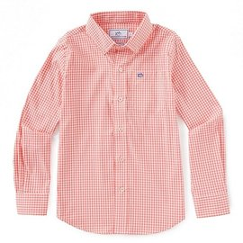 Southern Tide Youth LS Gingham Sportshirt Georgia Peach