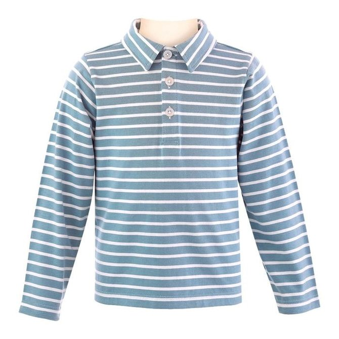 Rachel Riley Boys LS Striped Jersey Polo