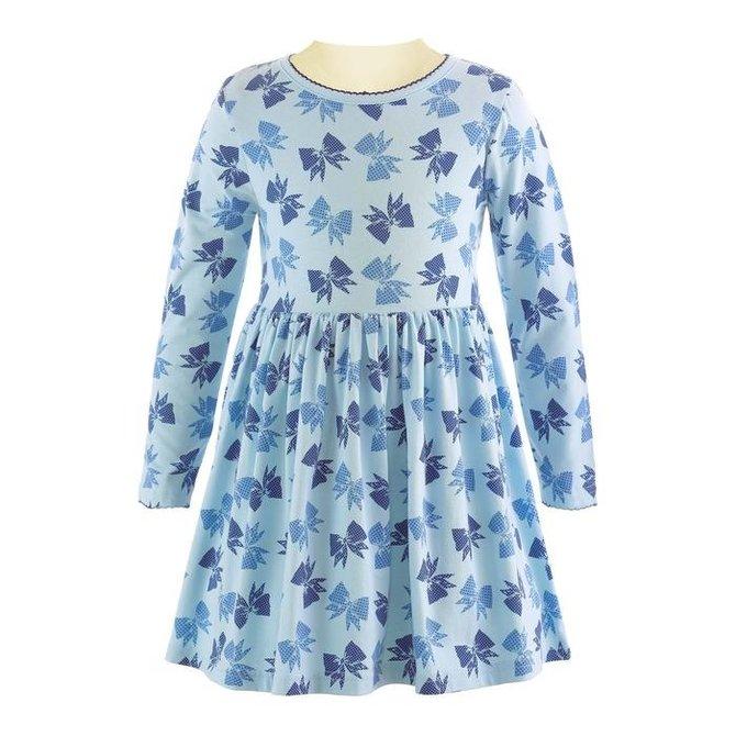 Rachel Riley Bow Long Sleeve Jersey Dress Blue