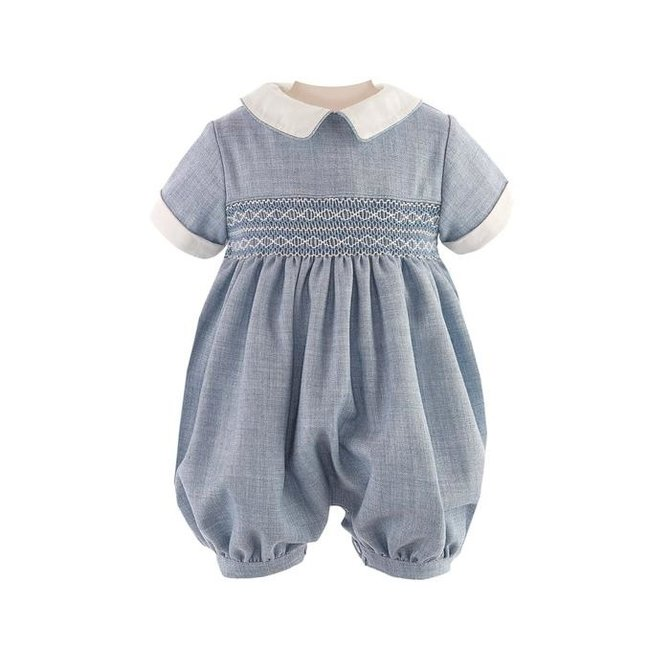 Rachel Riley Geometric Smocked Babysuit Blue