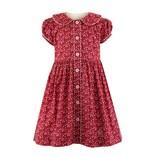 Rachel Riley Floral Button Front Dress Dark Red-Pink