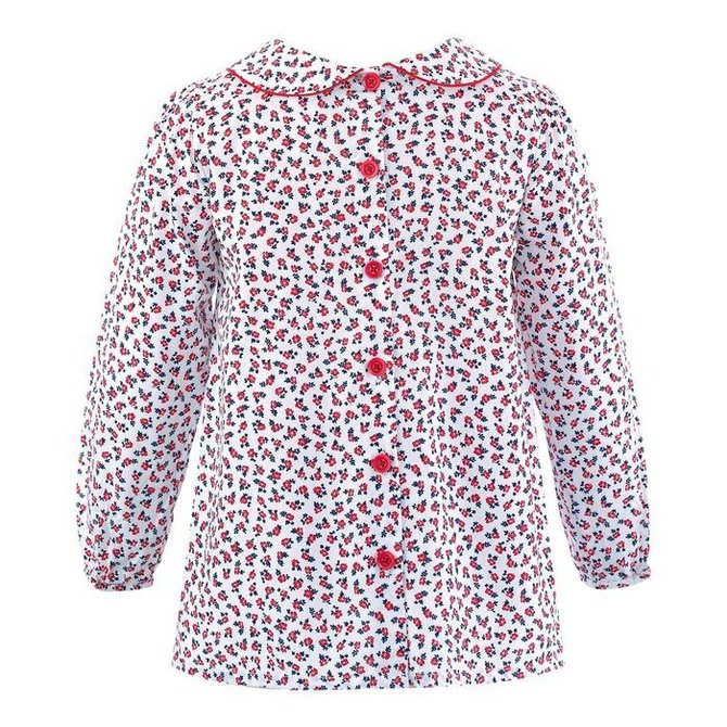 Rachel Riley Floral Smocked Top Red-Ivory
