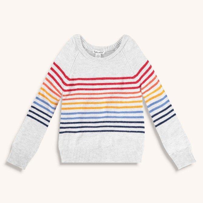 Splendid Rainbow Stripe Top Heather Grey