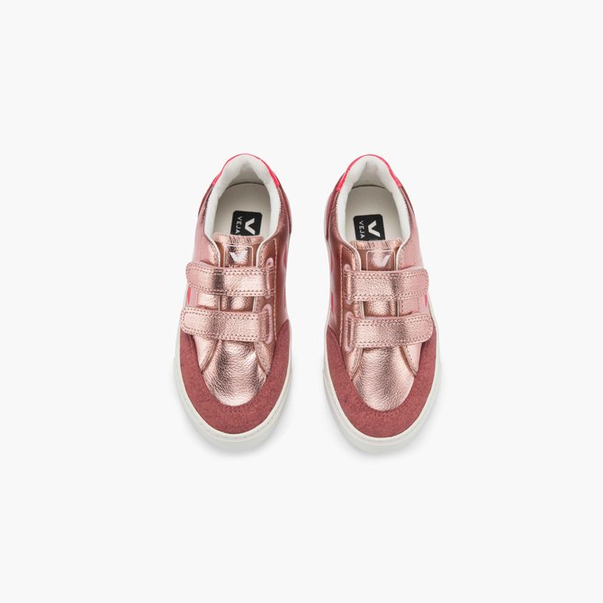 Veja Junior Sneaker Velcro Leather Nacre Rose
