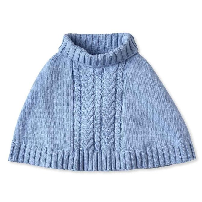 CPC Childrenswear Chunky Cable Poncho Bluebell
