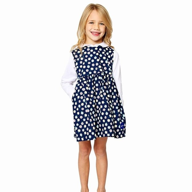 Smiling Button Flower Power Pinny Dress