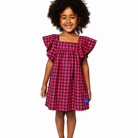 Smiling Button School Yard Check Flutter Dress