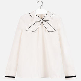 Mayoral Poplin Blouse White with Bow