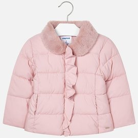 Mayoral Pink Padded Coat w/ Fur Collar