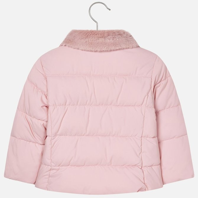 Mayoral Pink Padded Coat w/ Fur Collar