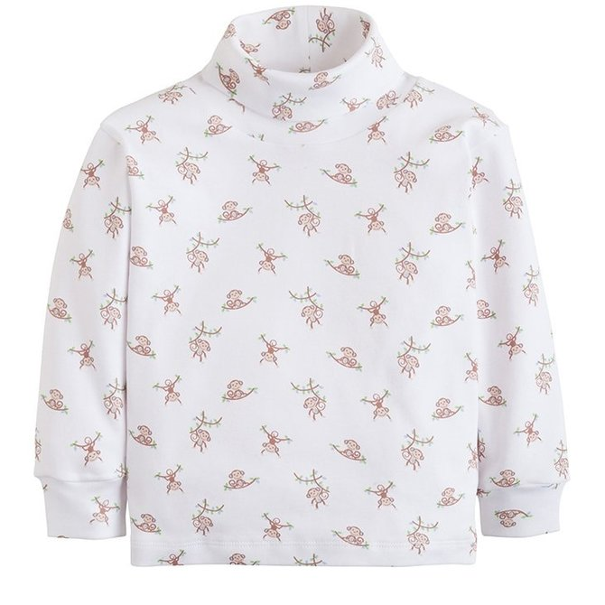 Little English Pink Monkey Printed Turtleneck