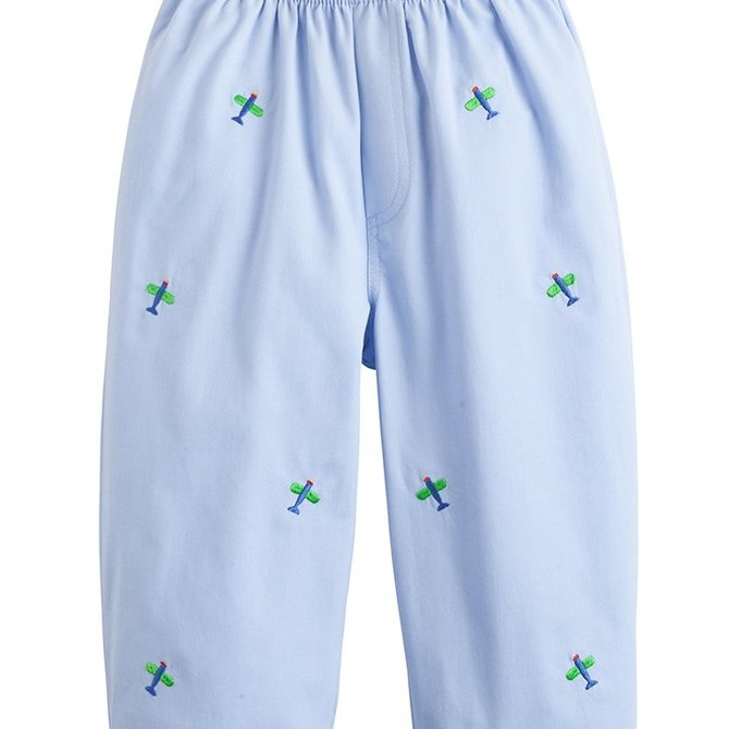 Little English Airplane Embroidered Pull on Pant