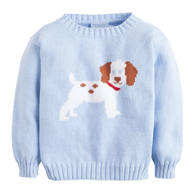 Little English Puppy Intarsia Sweater