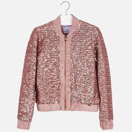 Mayoral Sequin Bomber Jacket Blush