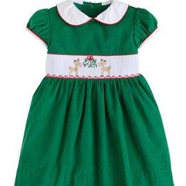 Little English Reindeer Smocked Charlotte Dress Green
