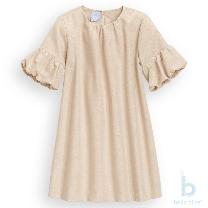 Bella Bliss Teely Dress Gold Herringbone