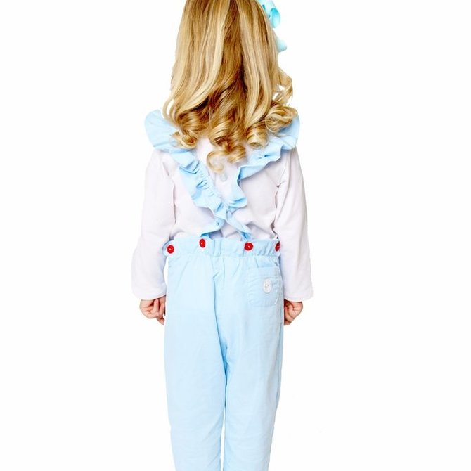 Smiling Button Winter Blue Corduroy Flutterall