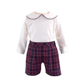 Rachel Riley Pintuck Shirt & Tartan Short Set  Navy/Ivory/Red